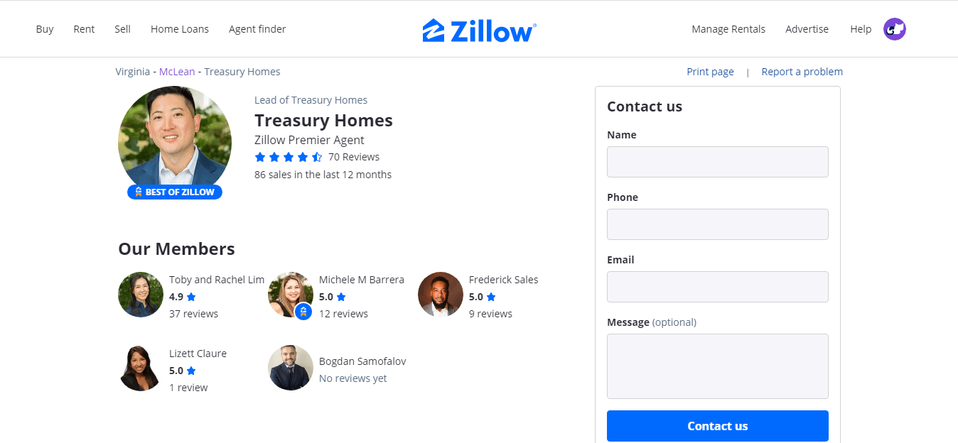 Agent's profile page on zillow