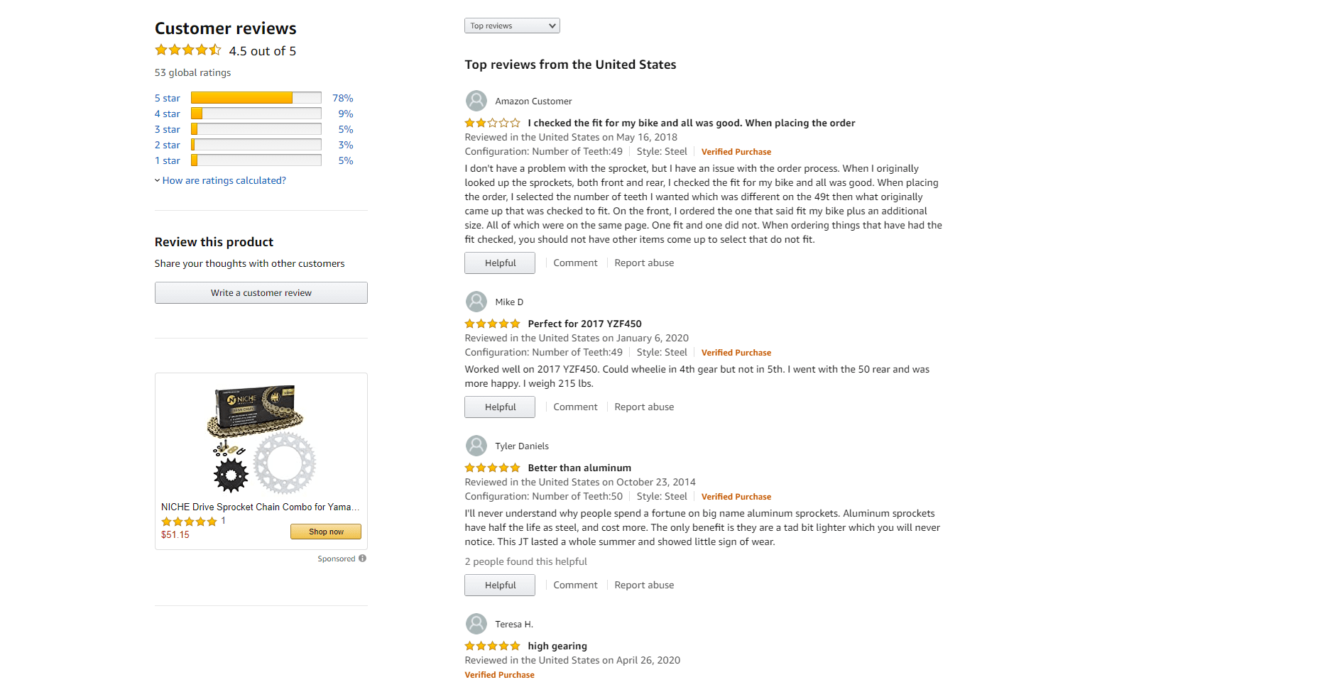Amazon marketplace reviews