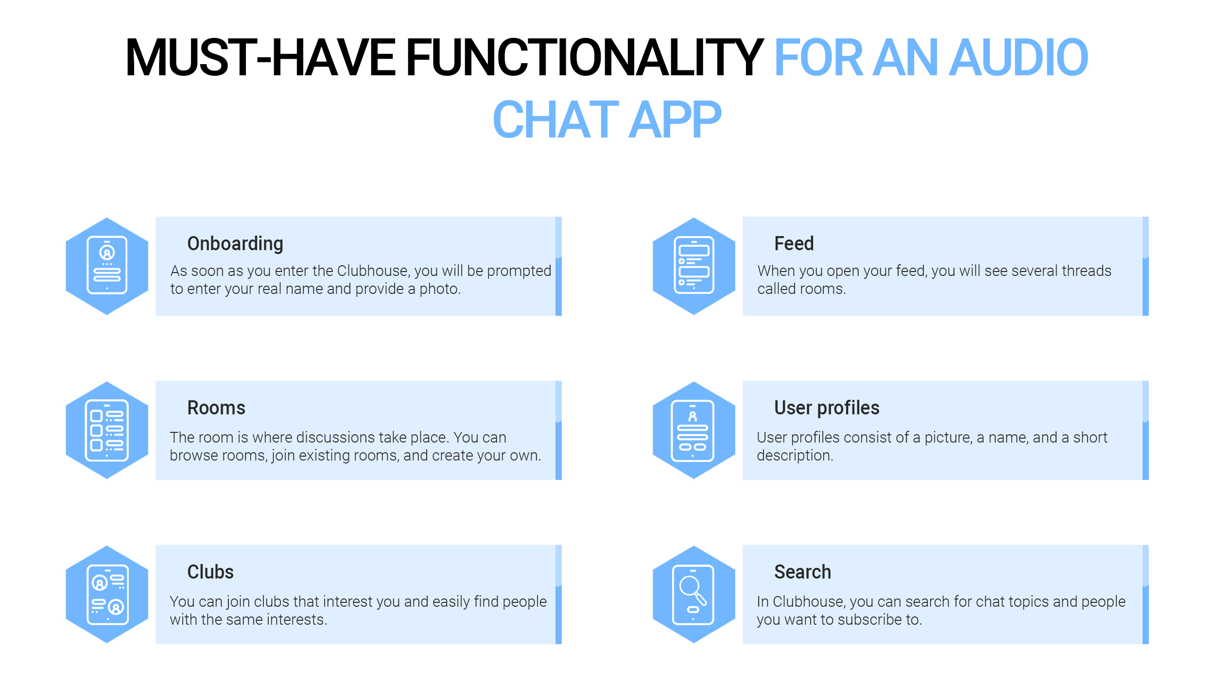 Must have functionality for an audio chat app