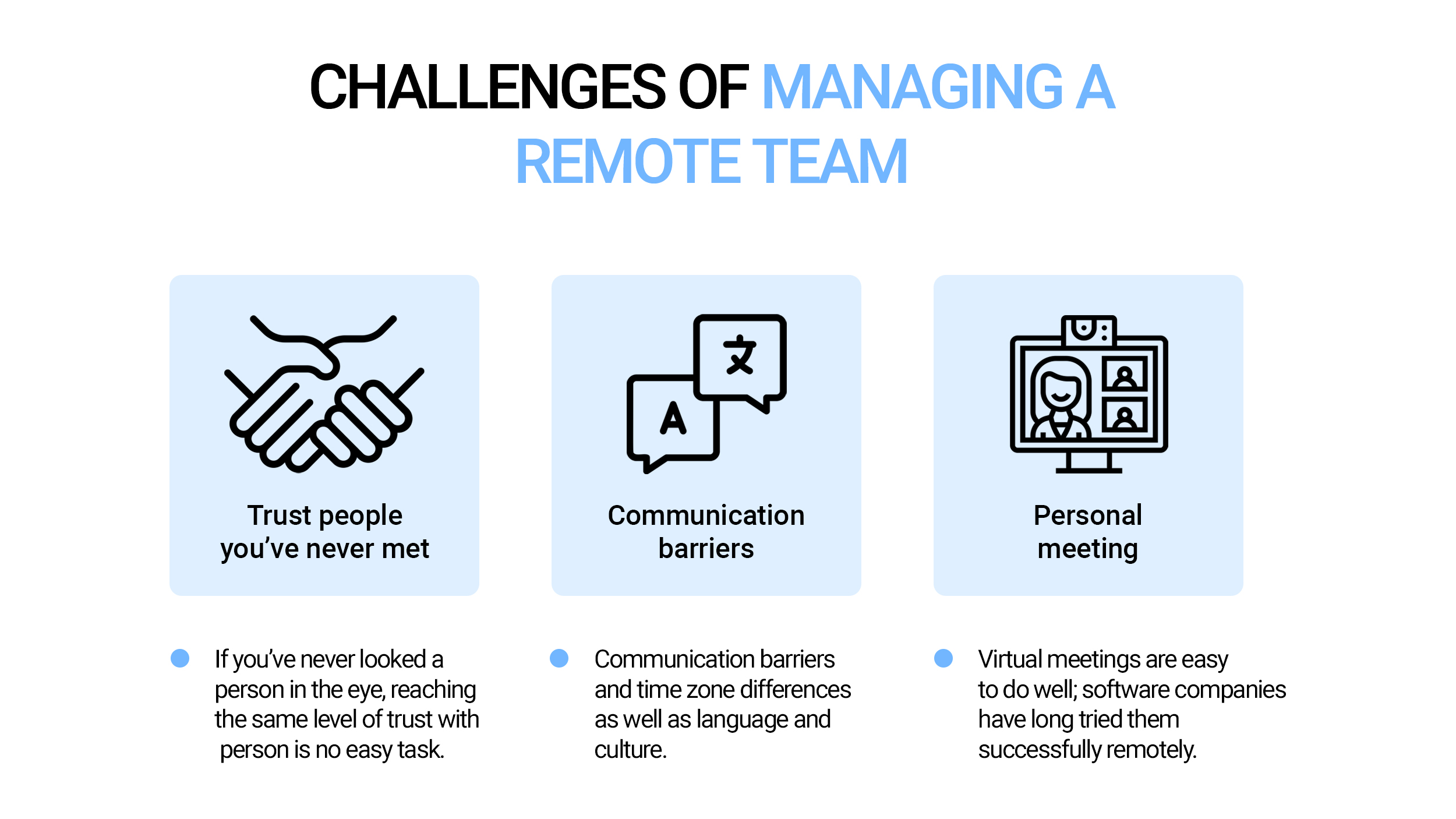 Main challenges in managing remote development teams