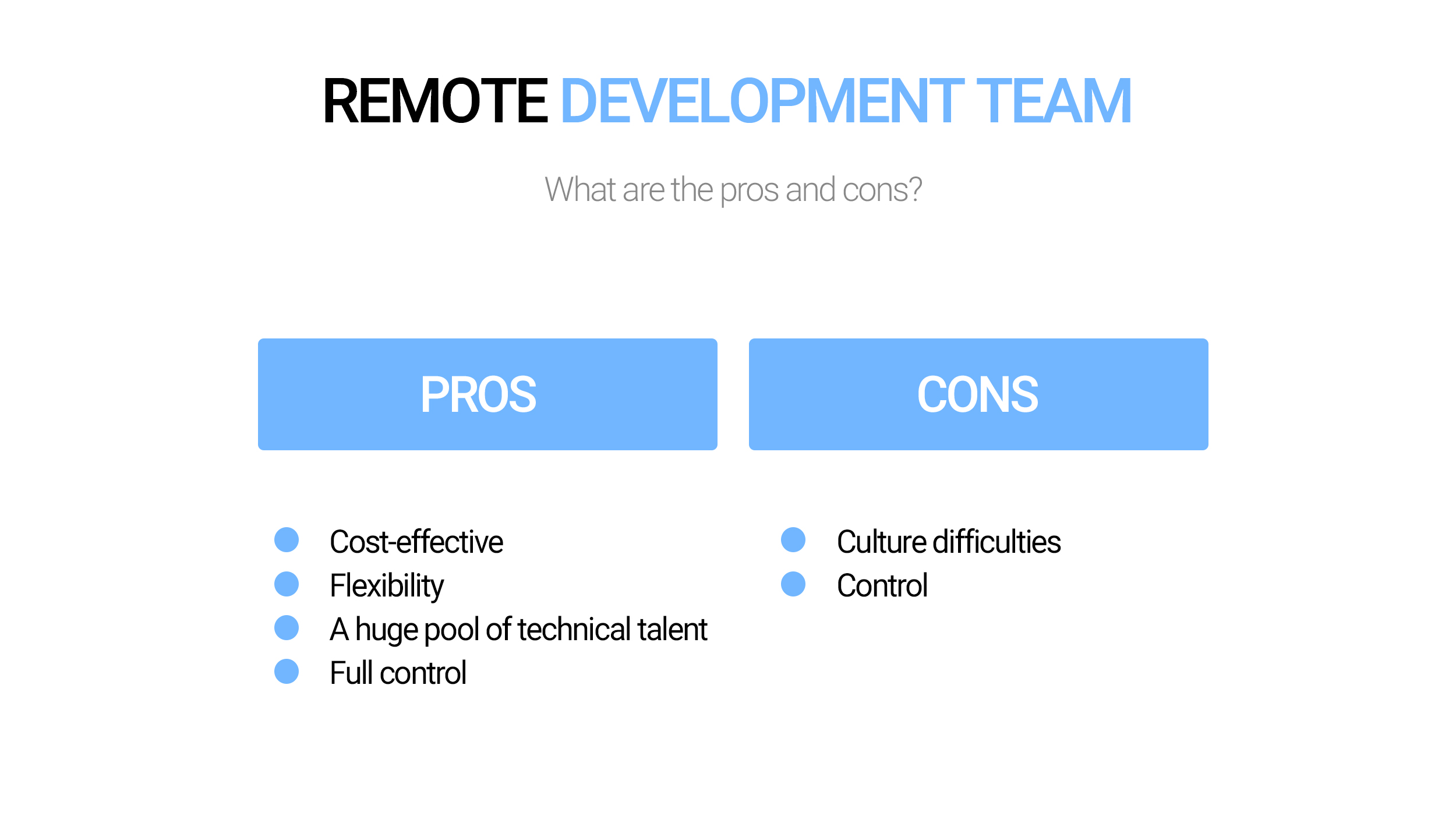Pros and сons of the remote development teams