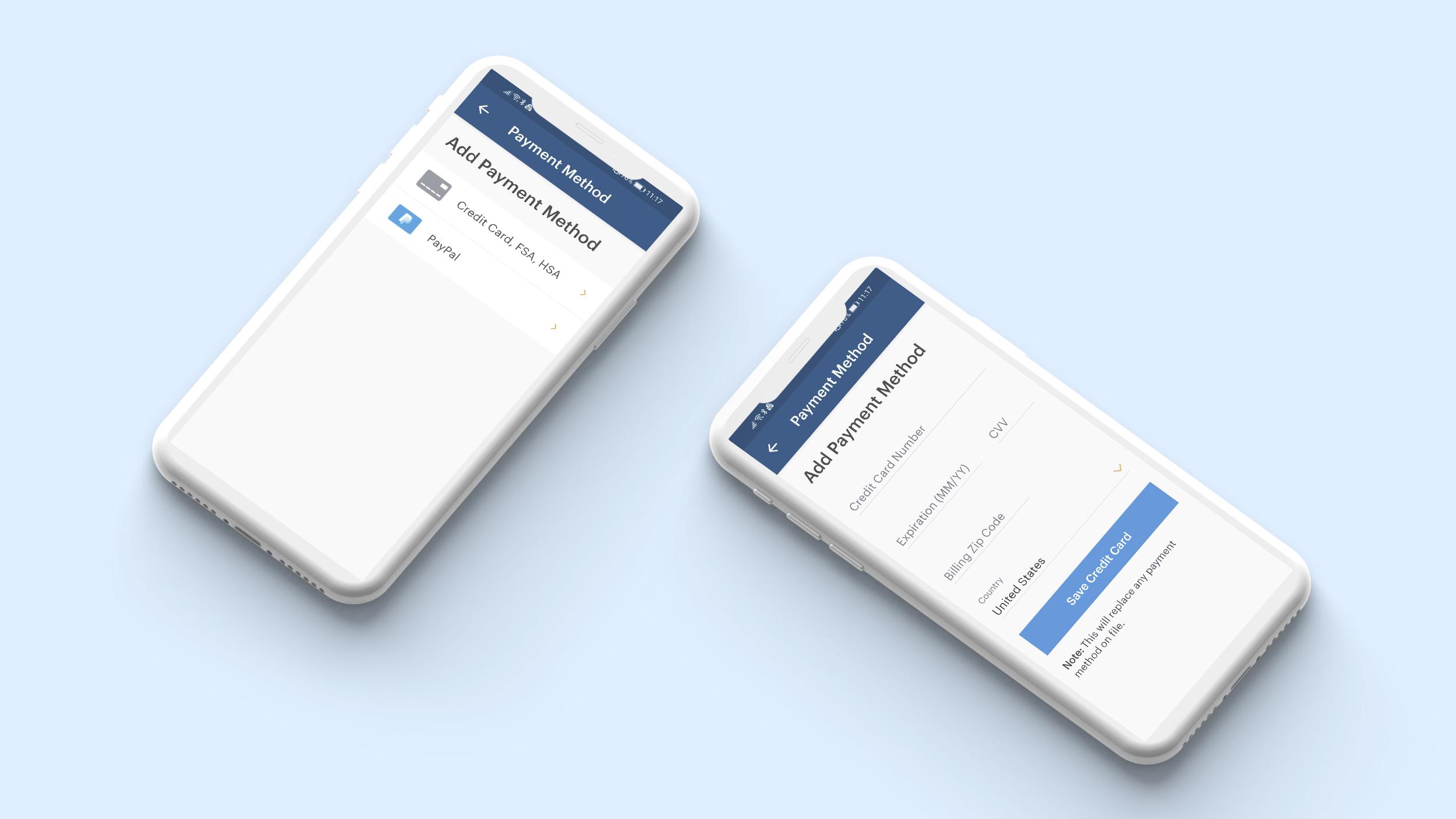 Payment methods screens