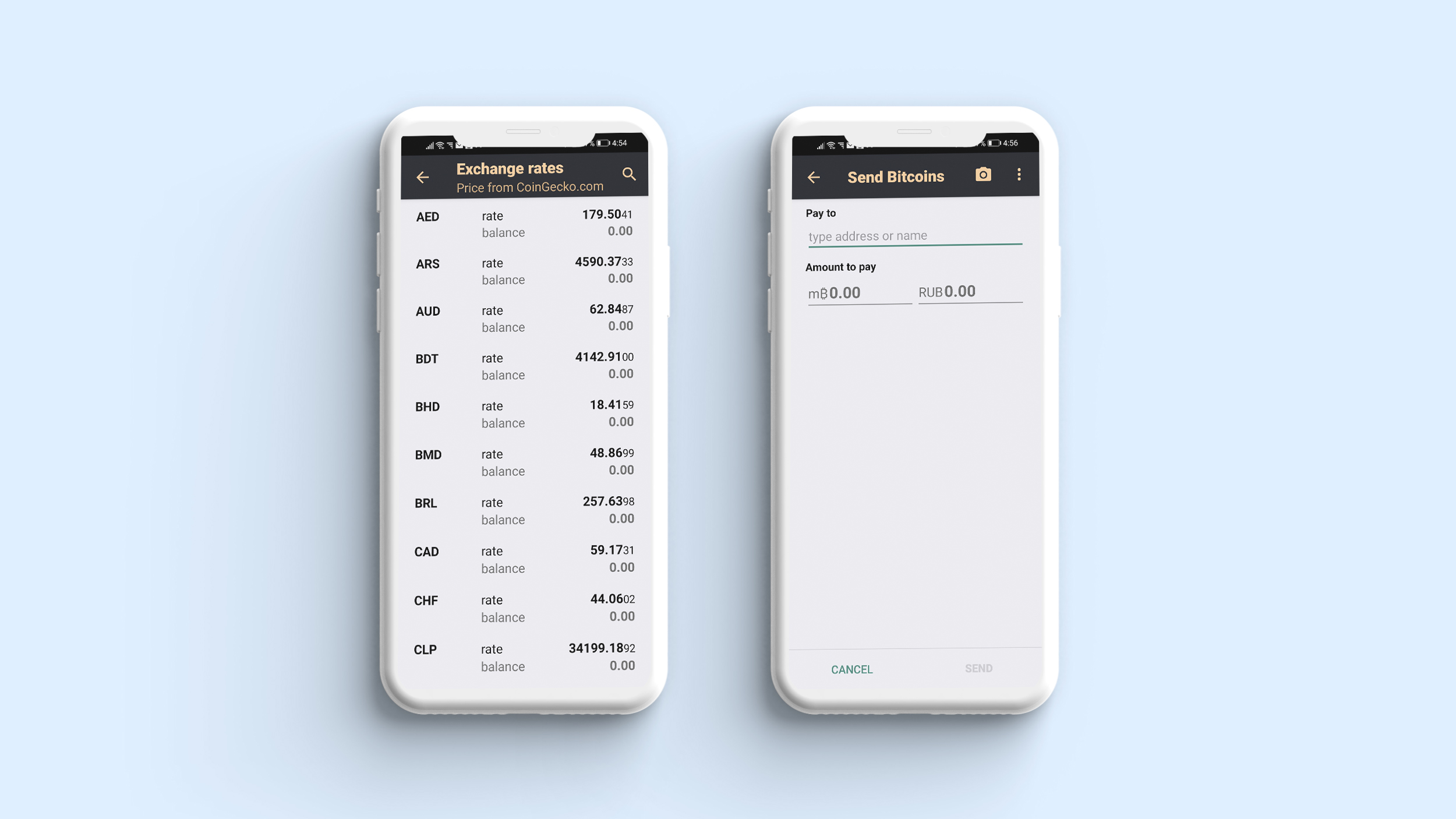Conversion rate in crypto wallet app