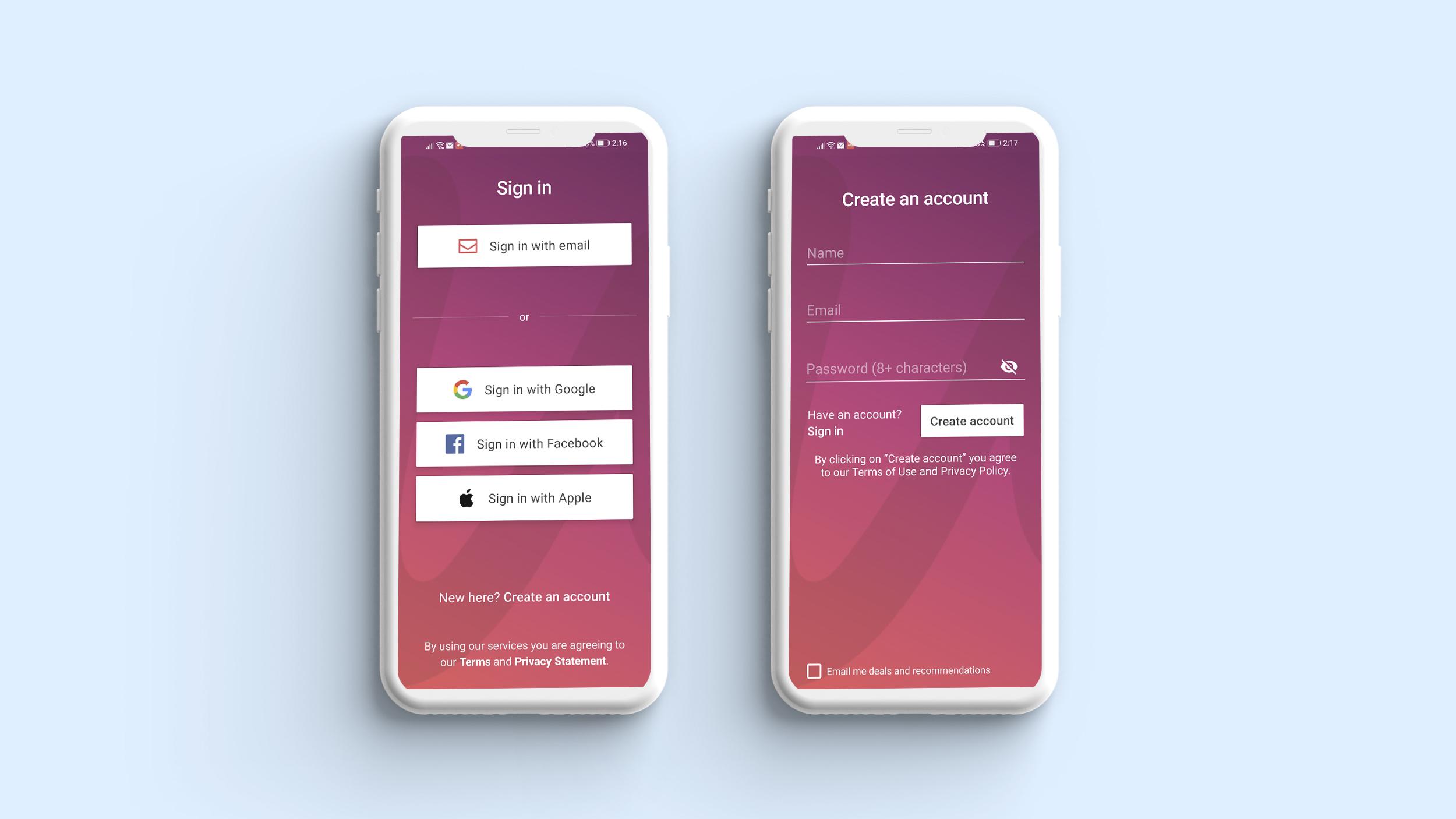 Register and login in Udemy app
