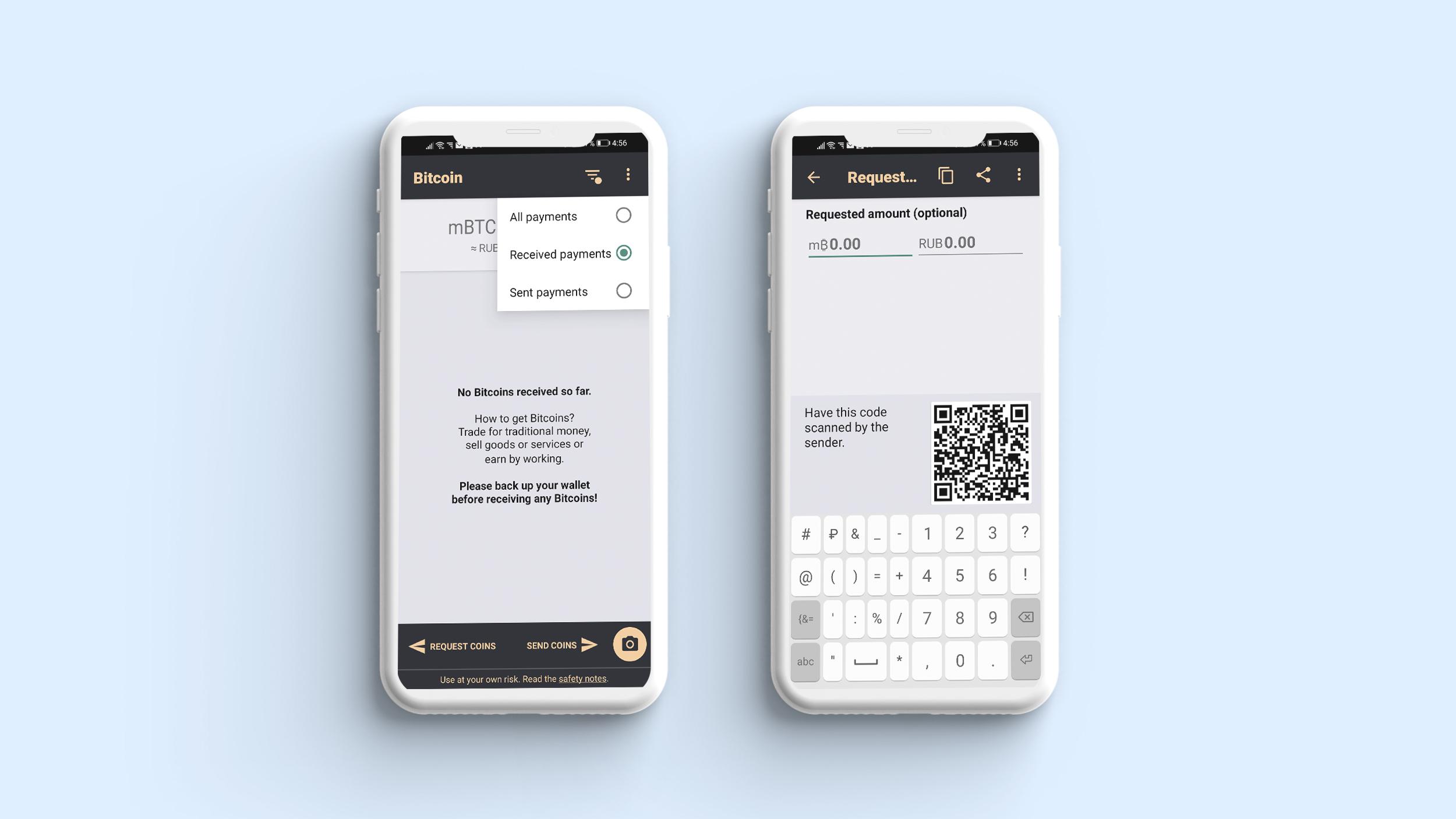 Transaction screen in crypto wallet app